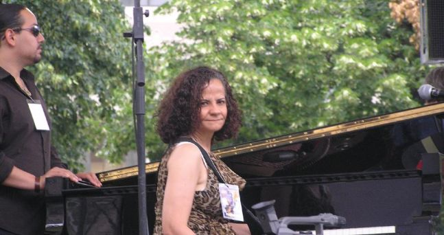 At my performance in the 2008 Clifford Brown Jazz Festival with Rene Ginett singer (Left)
