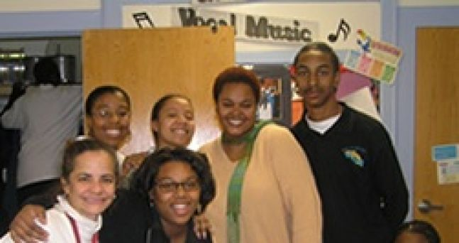 Jill Scott in my vocal classroom and some of my students (2006)